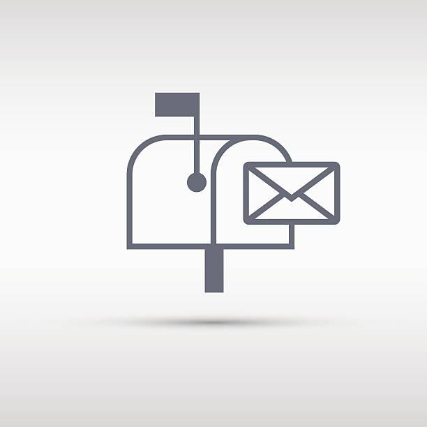 Briefkasten Symbol. Briefkasten oder Schaltfläche Unterzeichnen isoliert auf grauem Hintergrund. – Vektorgrafik
