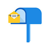 Mailbox icon vector sign and symbol isolated on white background, Mailbox logo concept