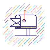 Line vector icon illustration of mailbox.