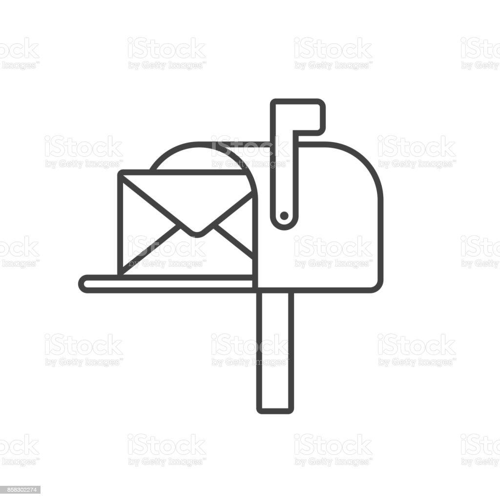 Postfach Linie Symbol Vektor – Vektorgrafik