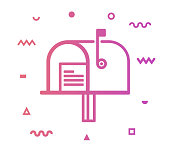 Mailbox outline style icon design with decorations and gradient color. Line vector icon illustration for modern infographics, mobile designs and web banners.
