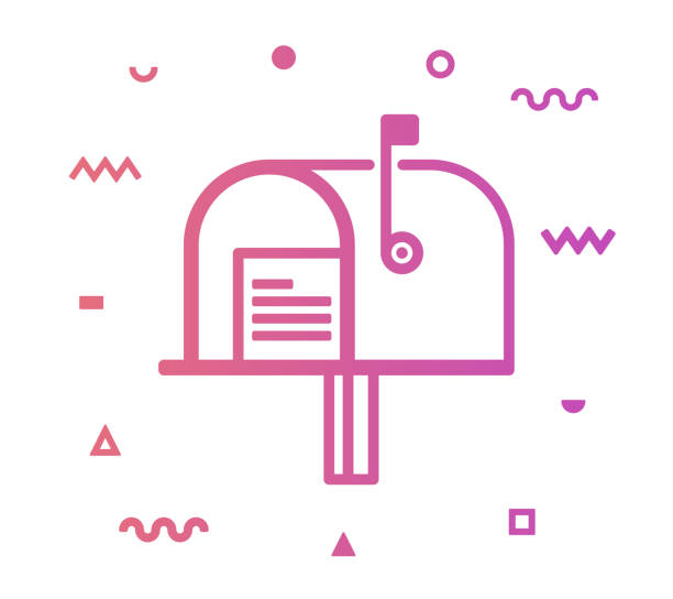 Mailbox Line Style Icon Design Mailbox outline style icon design with decorations and gradient color. Line vector icon illustration for modern infographics, mobile designs and web banners. letterbox format stock illustrations