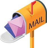 Opened isometric mailbox with envelopes.