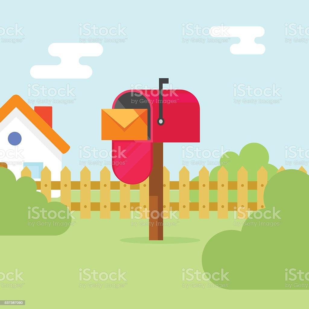 Briefkasten mit Brief Umschlag und Haus Landschaft Vektor-illustration – Vektorgrafik
