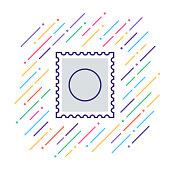 Line vector illustration of mail stamp.