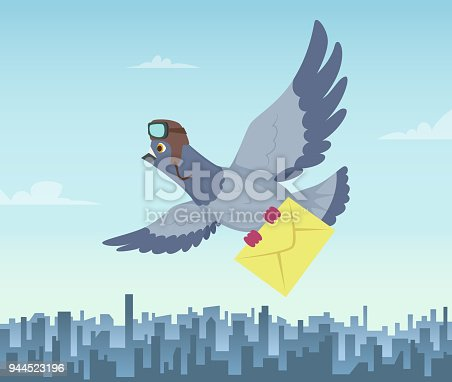 istock Mailing service with flying pigeons. Air delivery symbols 944523196