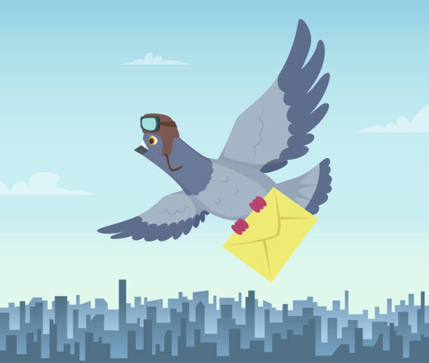 Mailing service with flying pigeons. Air delivery symbols Mailing service with flying pigeons. Air delivery symbols. Vector pigeon with mail message, fly courier illustration pigeon stock illustrations