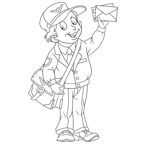 mailman or postal worker with a letter - postal worker stock illustrations