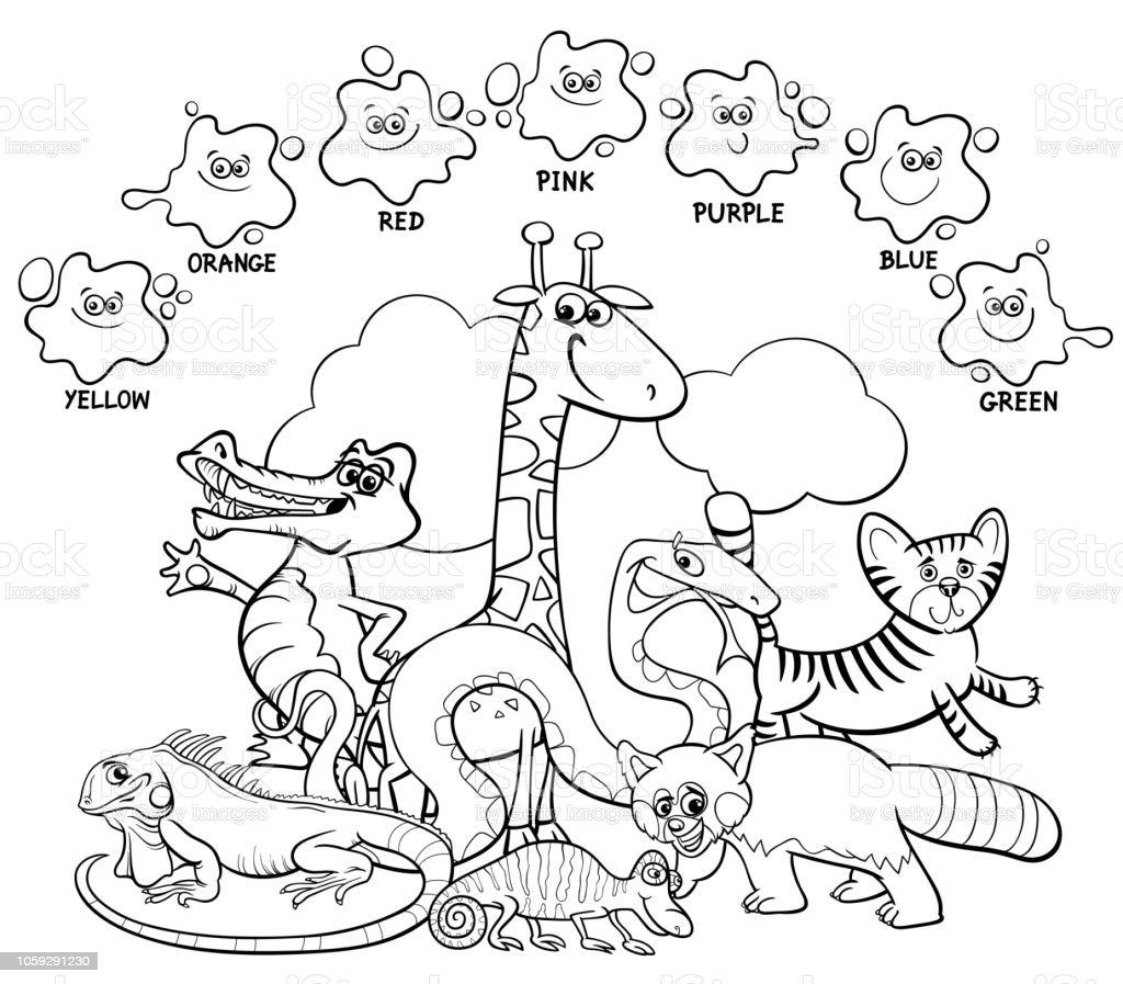 Boyama Kitabi Hayvanlar Ile Ana Renkler Stok Vektor Sanati