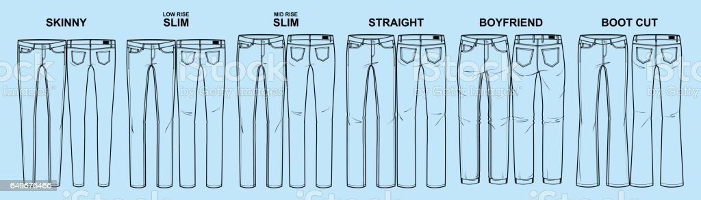 Main fits of women's denim line royalty-free main fits of womens denim line stock illustration - download image now
