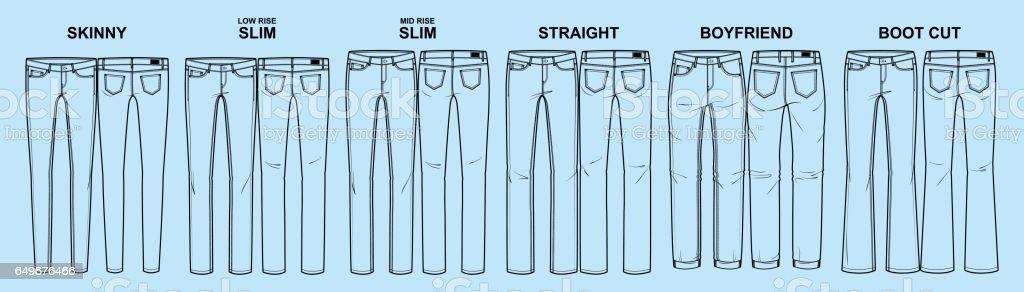 Main fits of women's denim line vector art illustration