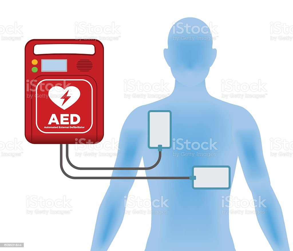 AED(Automated External Defibrillator), main machine and electrode pads vector art illustration
