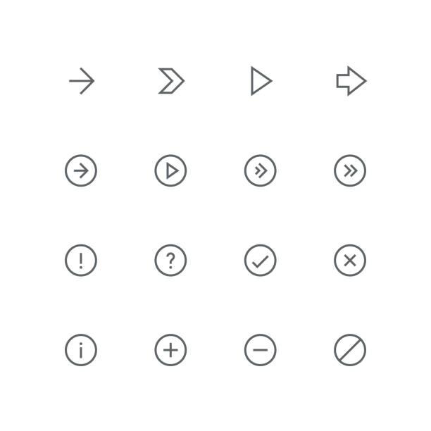 illustrazioni stock, clip art, cartoni animati e icone di tendenza di main outline icon set 06 - segno meno
