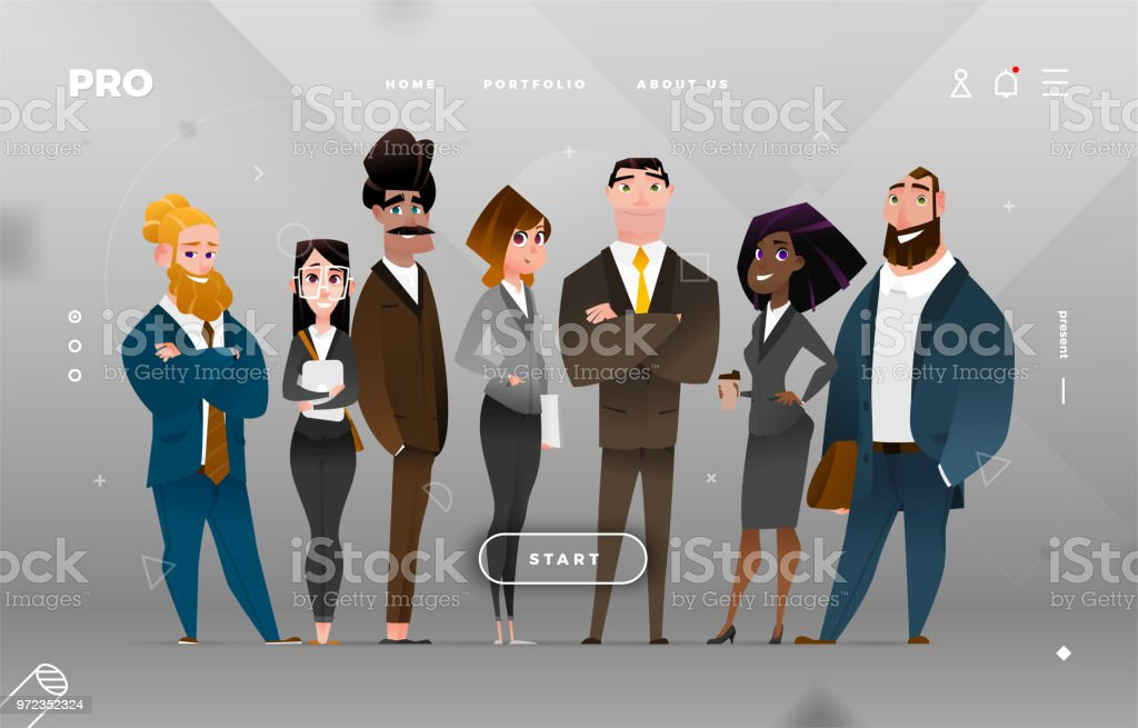 Main Page Business Design with Cartoon Character royalty-free main page business design with cartoon character stock illustration - download image now