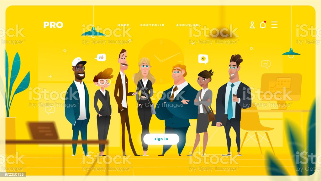 Main Page Web Design with Business Cartoon Characters royalty-free main page web design with business cartoon characters stock illustration - download image now