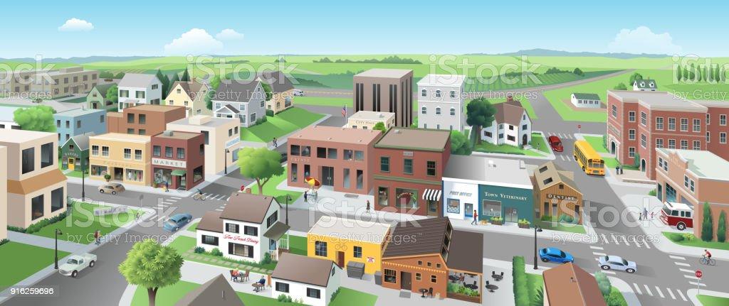Main Street-Panorama – Vektorgrafik