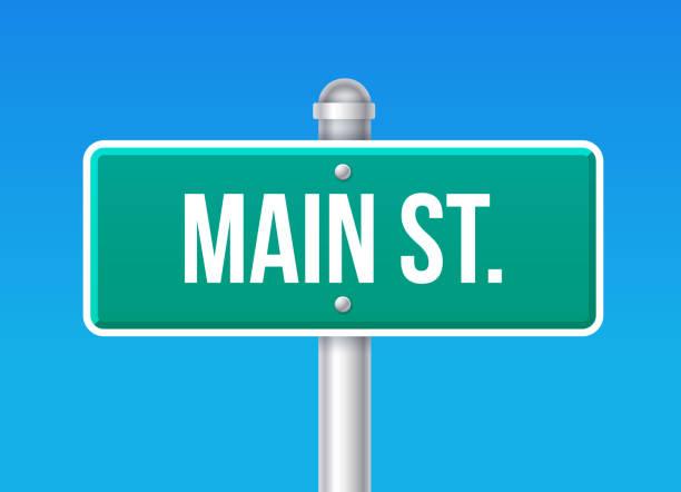 main street zeichen - straßenschilder stock-grafiken, -clipart, -cartoons und -symbole