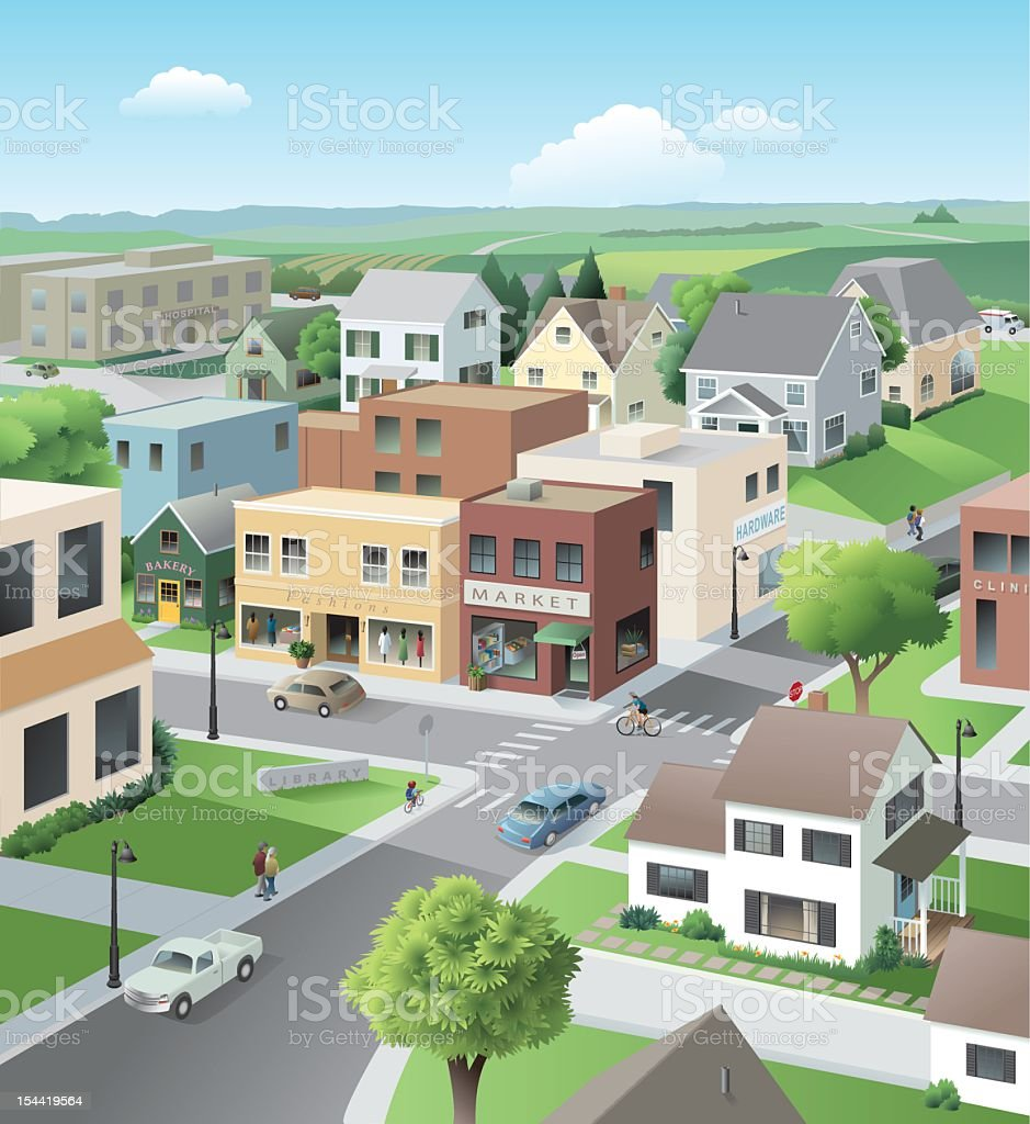 Main Street vector art illustration