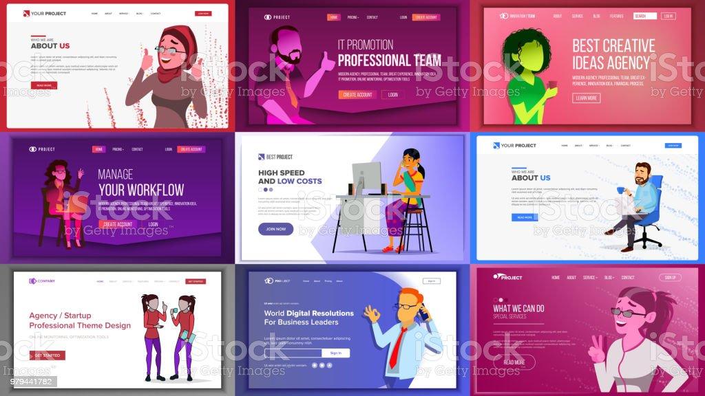 Main Web Page Design Vector Website Business Screen Landing ...