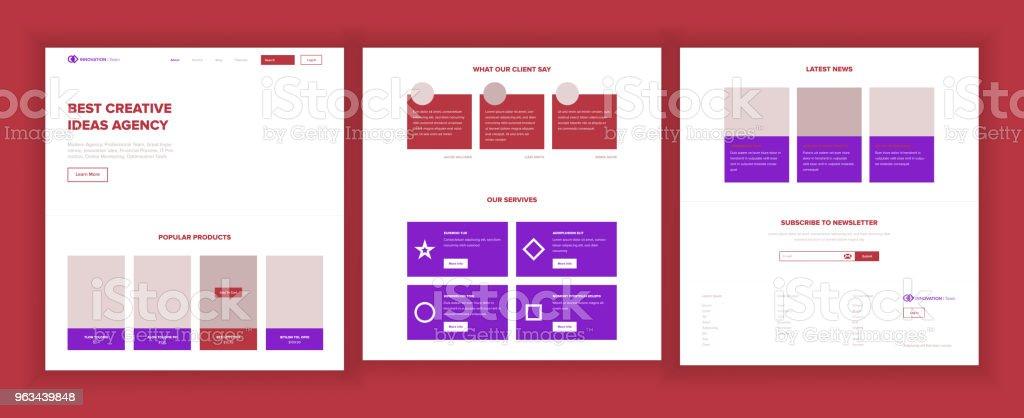 Page d'accueil Web Design vectoriel. Site Web Business Style. Modèle de l'atterrissage. Couverture de résumé de projet. Crédit client. Équipe de l'introduction. Structure de l'idée. Illustration - clipart vectoriel de Adulation libre de droits
