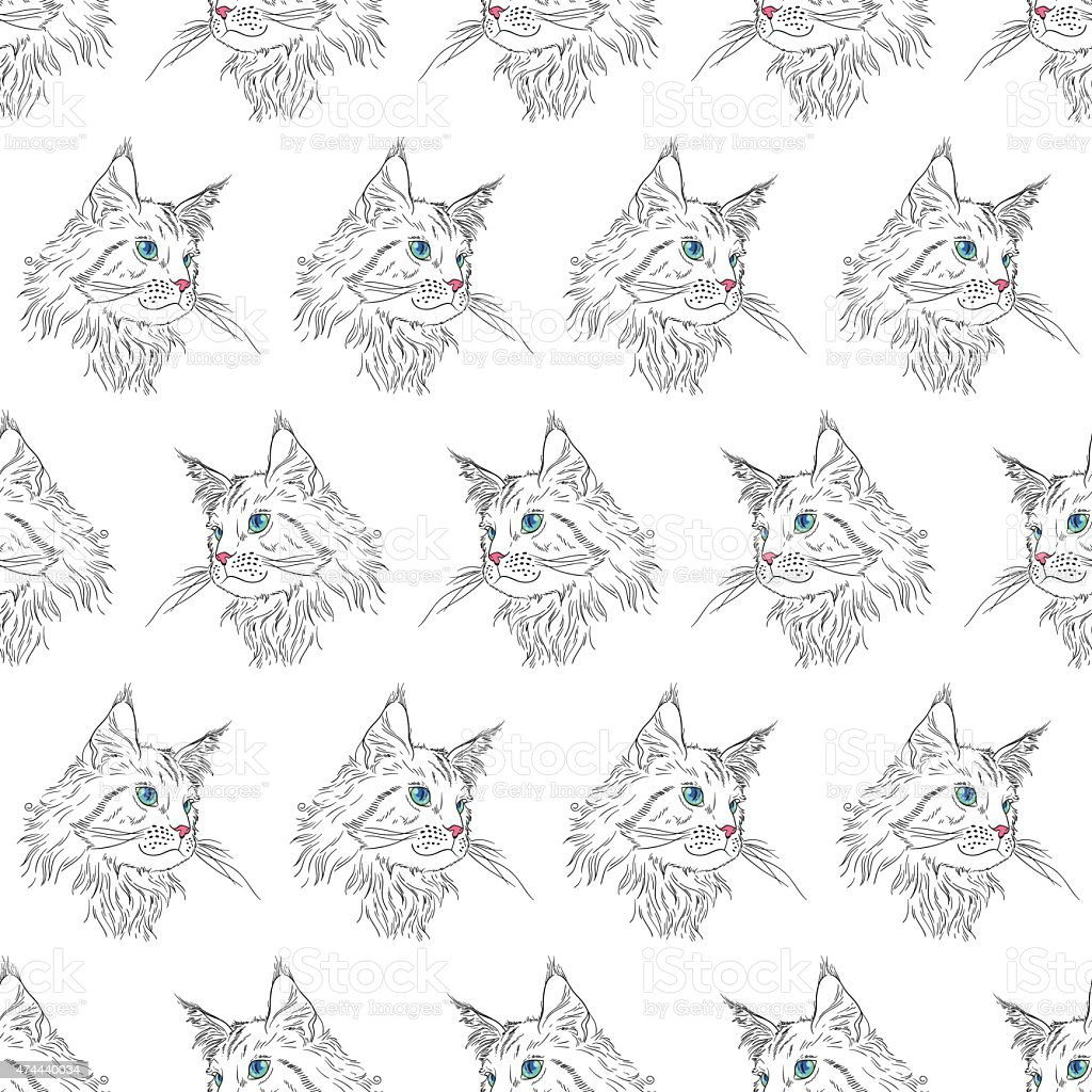Maine coon pattern royalty-free maine coon pattern stock vector art & more images of 2015
