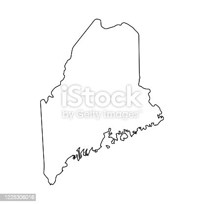 Line USA state, American map illustration, America vector isolated on white background, outline style