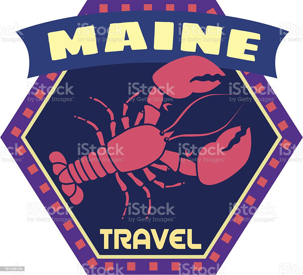 Maine lobster luggage label or travel sticker royalty-free stock vector art