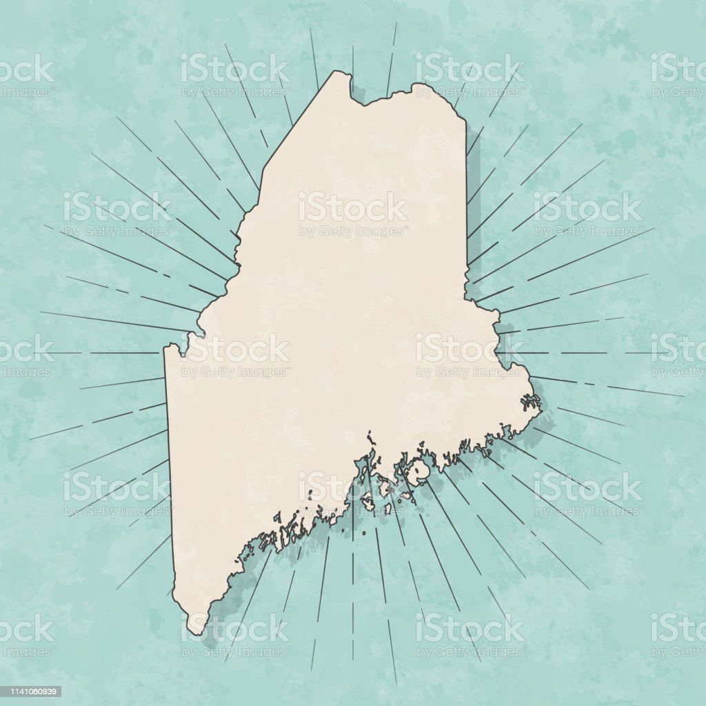 Map of Maine in a trendy vintage style. Beautiful retro illustration...