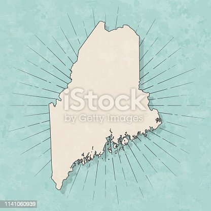 Map of Maine in a trendy vintage style. Beautiful retro illustration with old textured paper and light rays in the background (colors used: blue, green, beige and black for the outline). Vector Illustration (EPS10, well layered and grouped). Easy to edit, manipulate, resize or colorize.