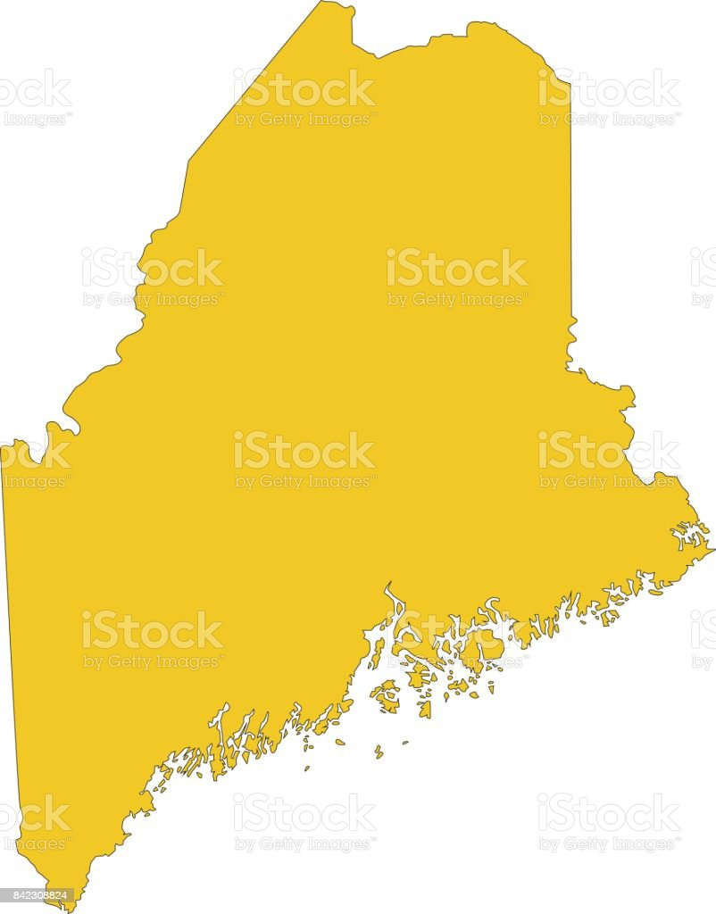 Maine Map Stock Vector Art More Images Of Augusta Maine