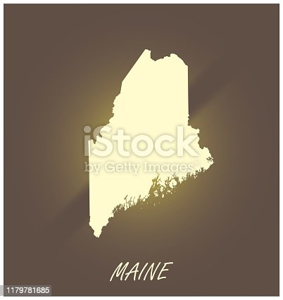 Maine map vector outline cartography black and white illuminated grunge background illustration