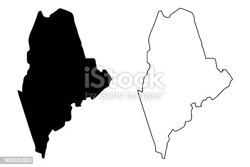Maine map vector illustration, scribble sketch  Maine map