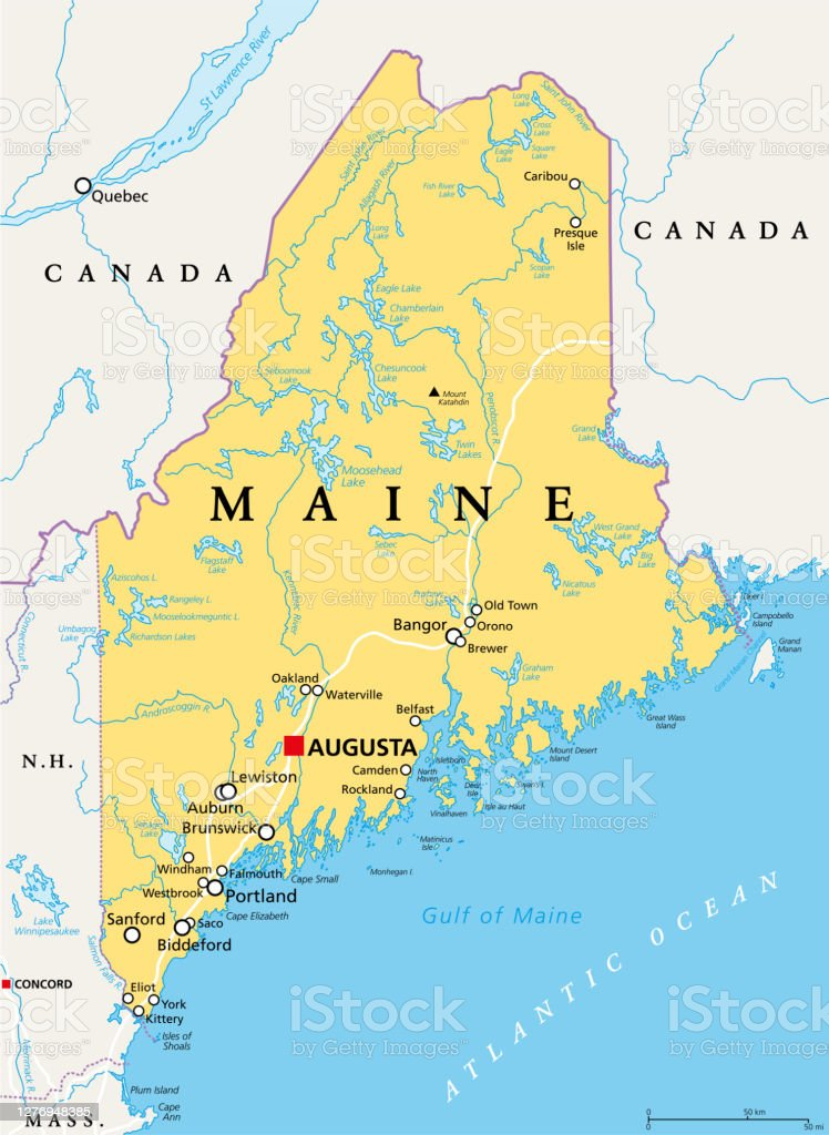 Image of: Maine Me Political Map The Pine Tree State Vacationland Stock Illustration Download Image Now Istock