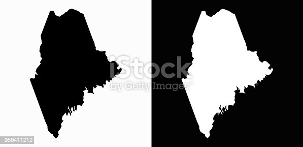 Maine State Black and White Simple Map. This 100% royalty free vector illustration includes two variation of this state. Simple black shape of the state on white background and the inverse white shape of the state on black background.