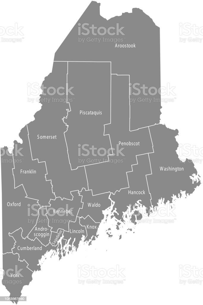 Maine State Of Usa County Map Vector Outlines Illustration ...