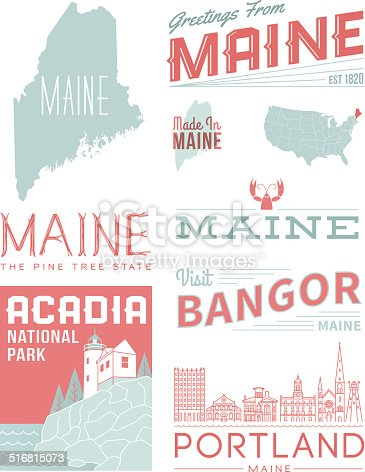 A set of vintage-style icons and typography representing the state of Maine, including Portland, Bangor and Acadia National Park. Each items is on a separate layer. Includes a layered Photoshop document. Ideal for both print and web elements.