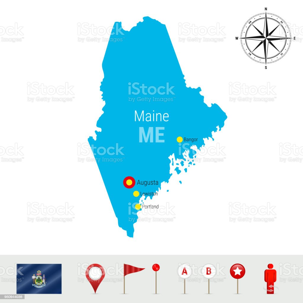 Maine Vector Map Isolated On White Background High Detailed 360 Degree Compass Diagram Silhouette Of State Official