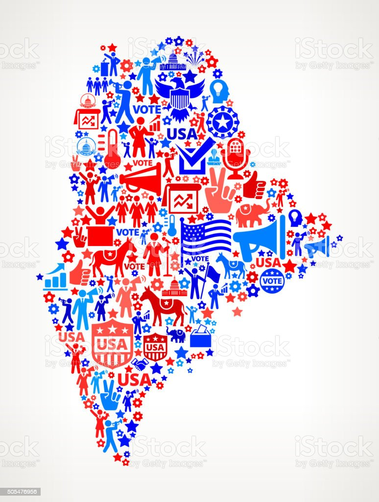 Maine Vote and Elections USA Patriotic Icon Pattern vector art illustration
