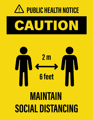 Vector Poster of keep Maintain 2 Meter Social Distancing Banner for reduce the risk of catching Corona virus Covid-19 outbreak. EPS ai 10 file format.
