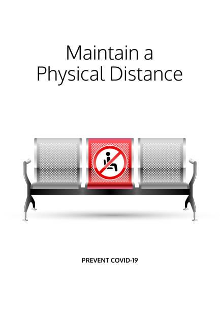 ilustrações, clipart, desenhos animados e ícones de mantenha um pôster de distância física. projeto de prevenção covid-19. mensagem de distanciamento social para áreas públicas de espera. - banco assento