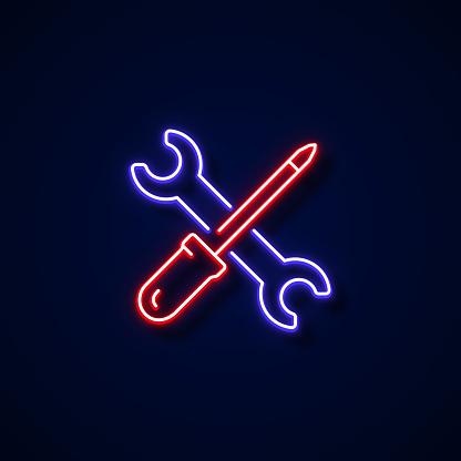 Maintenance Icon Neon Style, Design Elements