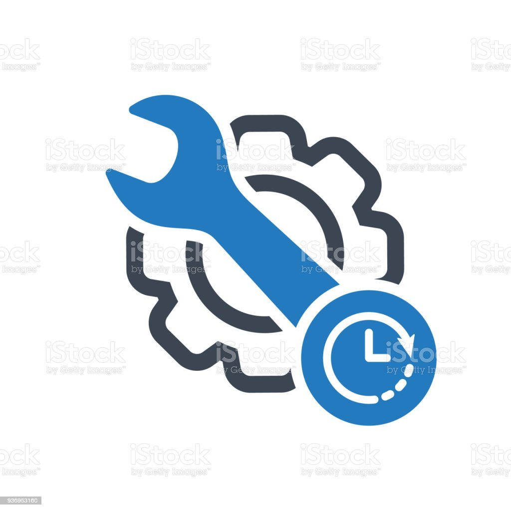 Maintenance Icon With Clock Sign Maintenance Icon And