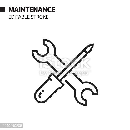 Maintenance Line Icon, Outline Vector Symbol Illustration. Pixel Perfect, Editable Stroke.