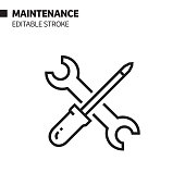 istock Maintenance Line Icon, Outline Vector Symbol Illustration. Pixel Perfect, Editable Stroke. 1190440206