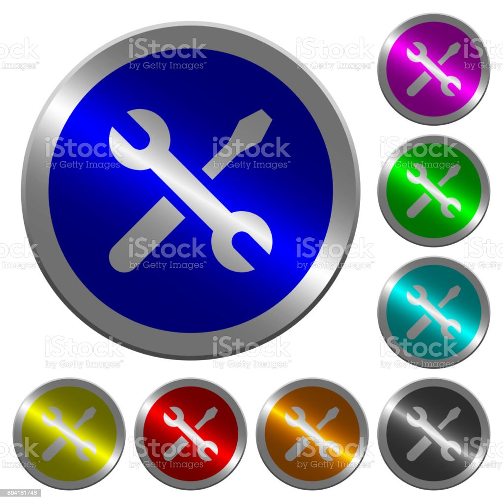 Maintenance luminous coin-like round color buttons royalty-free maintenance luminous coinlike round color buttons stock vector art & more images of at the edge of