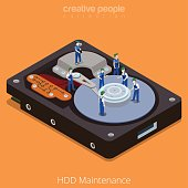 HDD Maintenance process. Flat 3d isometric isometry style technology computer hardware concept vector illustration. Micro cartoon men on big hard disk drive open cover. Creative people collection.