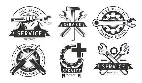 Maintenance work. Service, repair set of labels or logos. High quality. Hammer, wrench, washer, screwdriver elements in logotype. Monochrome sign.