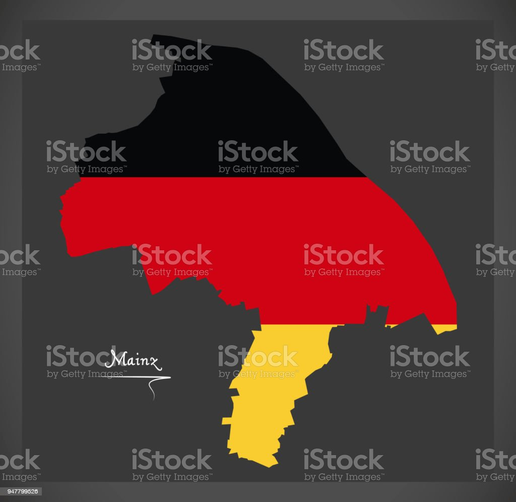 Mainz map with German national flag illustration vector art illustration