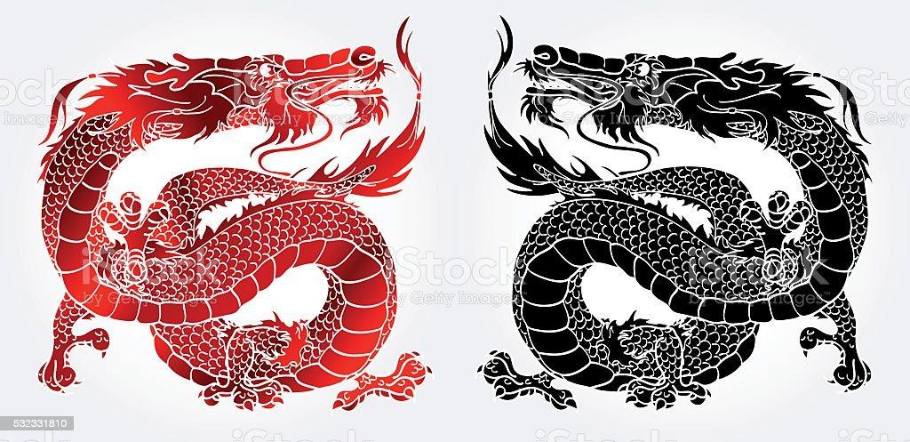 Величественный азиатских черный и красный дракон векторная иллюстрация