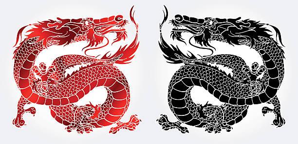 Bекторная иллюстрация Величественный азиатских черный и красный дракон